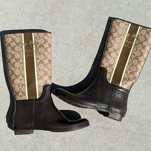 Coach Pammie Brown Rain Boots Size 10